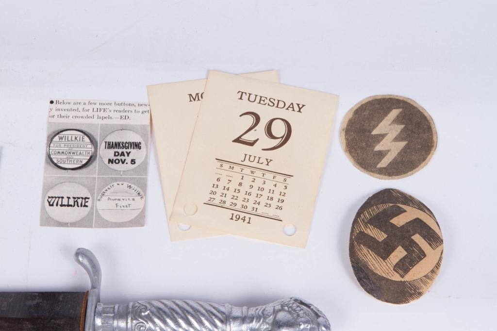 WWII NAZI PATCHES, DAGGER AND (2) METAL KEEPSAKES - 5