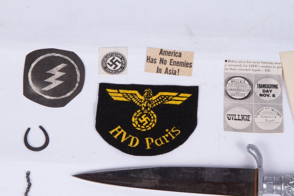 WWII NAZI PATCHES, DAGGER AND (2) METAL KEEPSAKES - 6