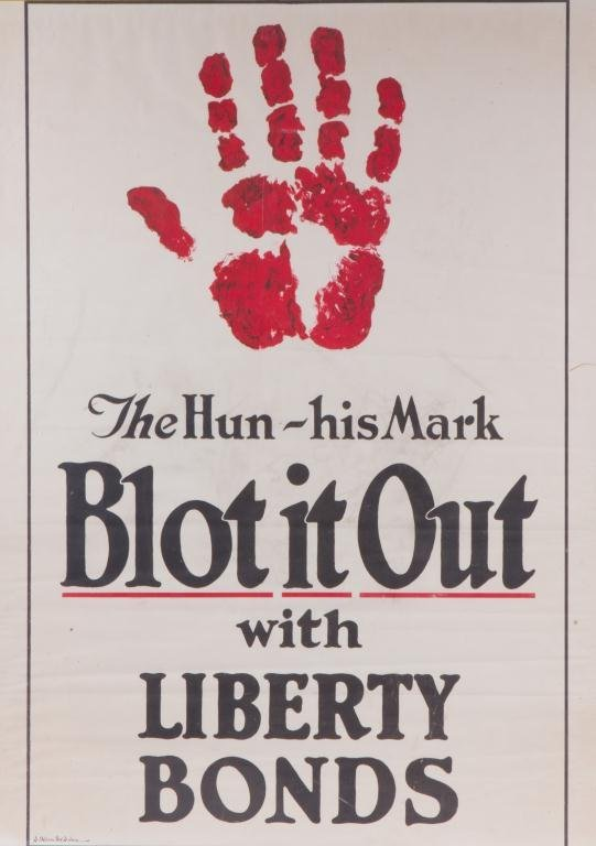 """""""THE HUN-HIS MARK BLOT IT OUT"""" WWI POSTER"""