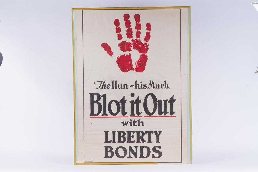 """""""THE HUN-HIS MARK BLOT IT OUT"""" WWI POSTER - 3"""