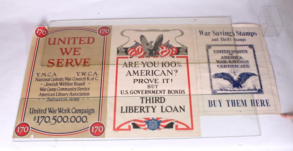(3) WWI US LIBERTY LOAN YWCA BOND POSTERS