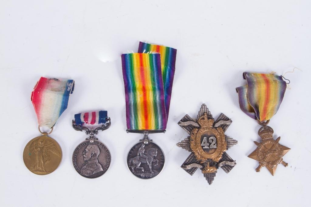 (4) MEDALS and (1)BLACK WATCH HAT BADGE