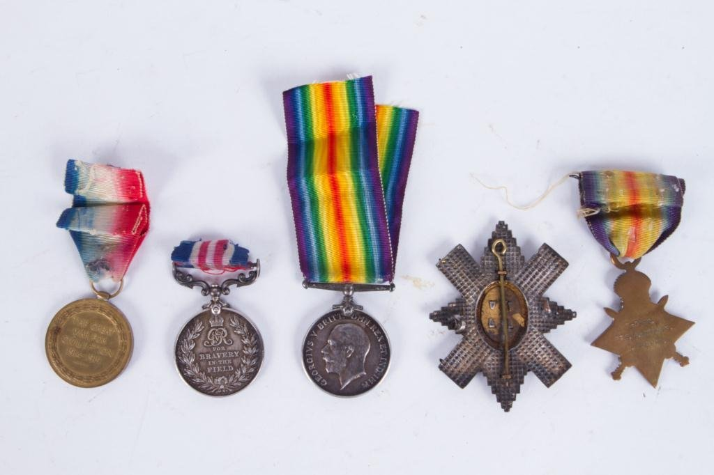 (4) MEDALS and (1)BLACK WATCH HAT BADGE - 4
