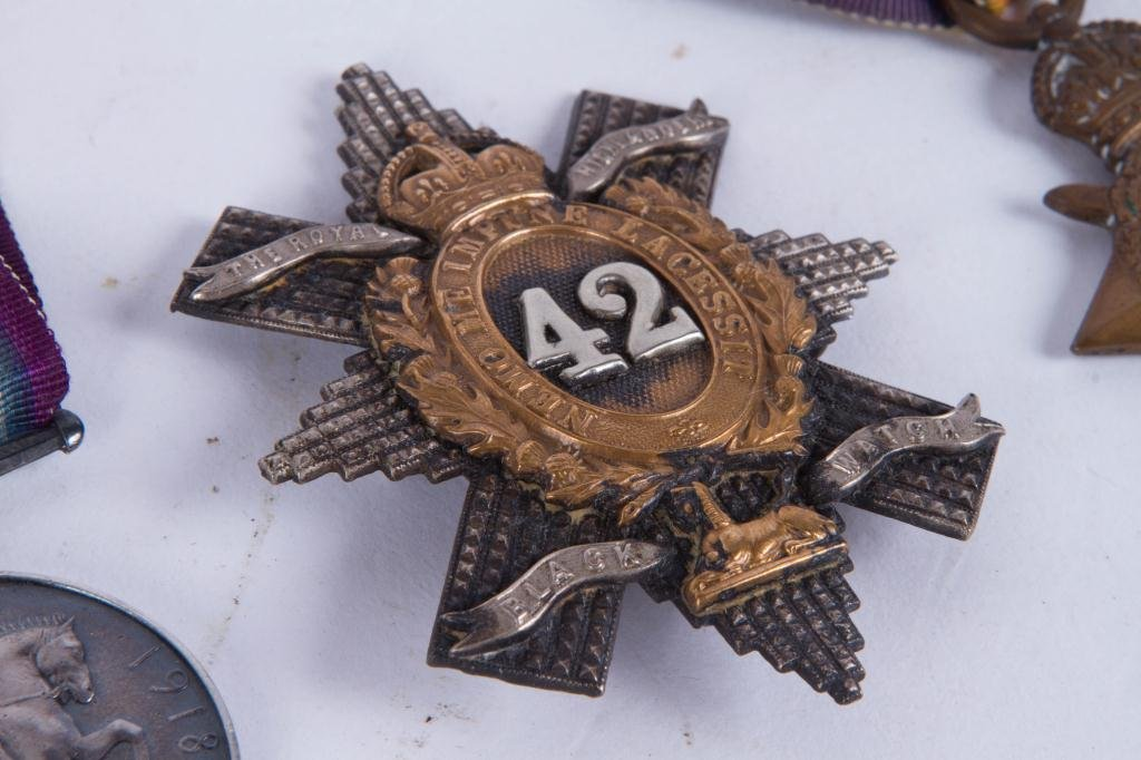 (4) MEDALS and (1)BLACK WATCH HAT BADGE - 6