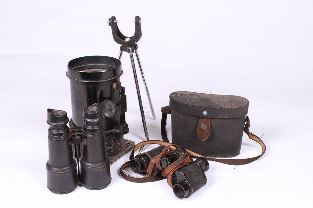 LARGE BAUSCH & LOMB LENS AND (2) BINOCULARS