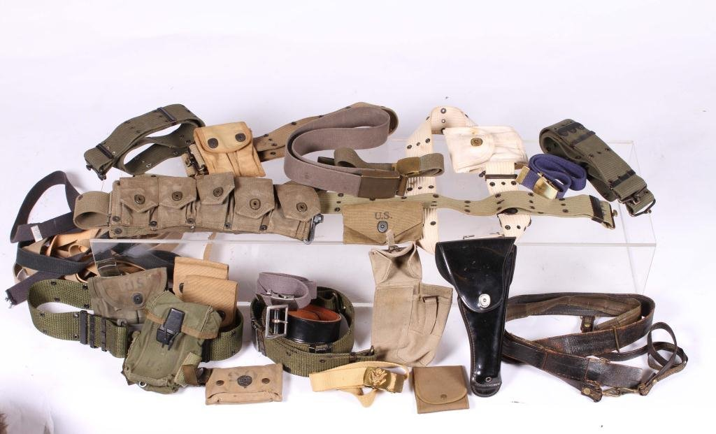 BOX LOT OF MILITARY BELTS, POUCHES & HOLSTER