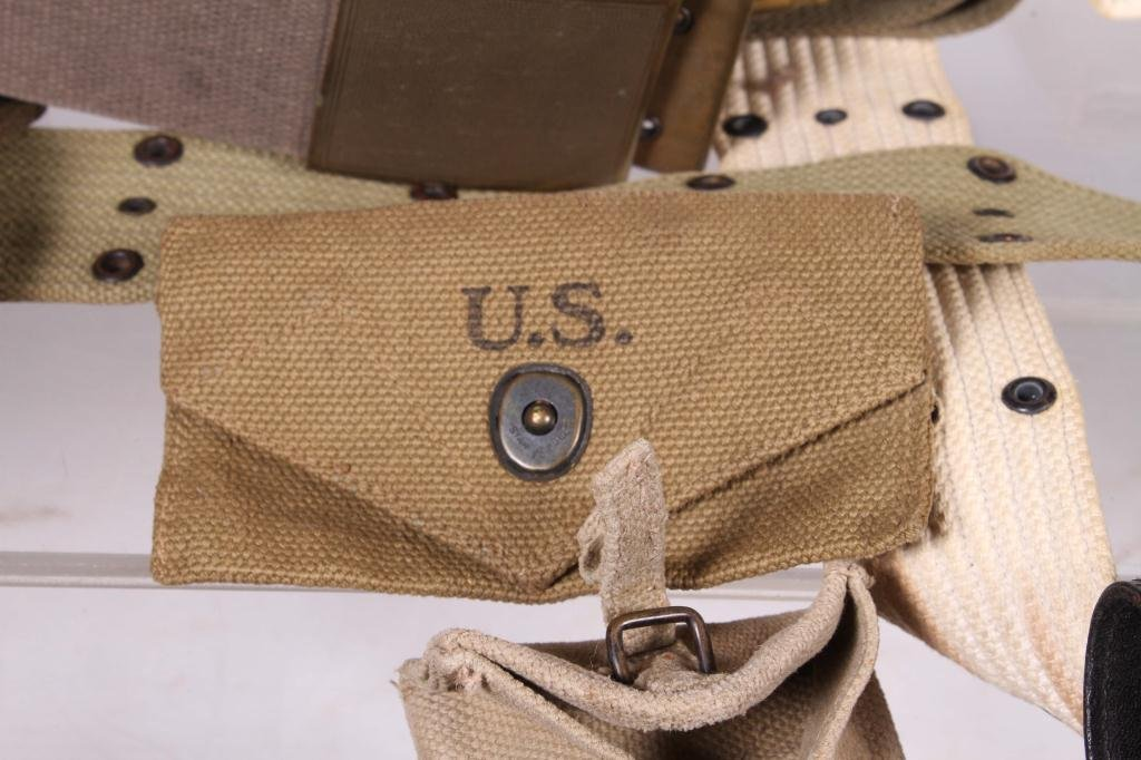 BOX LOT OF MILITARY BELTS, POUCHES & HOLSTER - 2