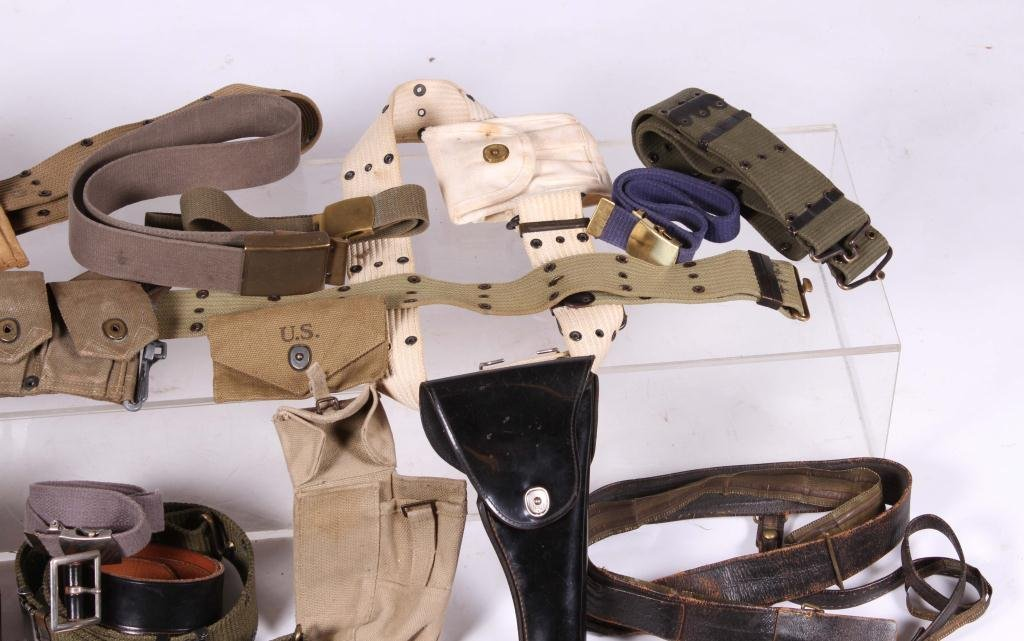 BOX LOT OF MILITARY BELTS, POUCHES & HOLSTER - 4
