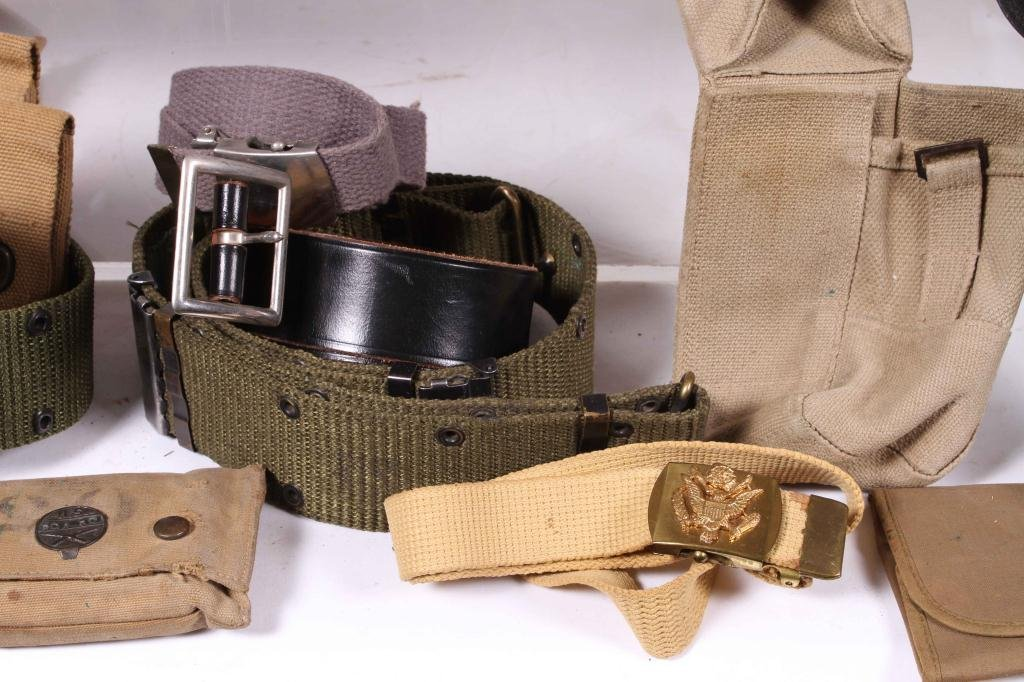 BOX LOT OF MILITARY BELTS, POUCHES & HOLSTER - 5