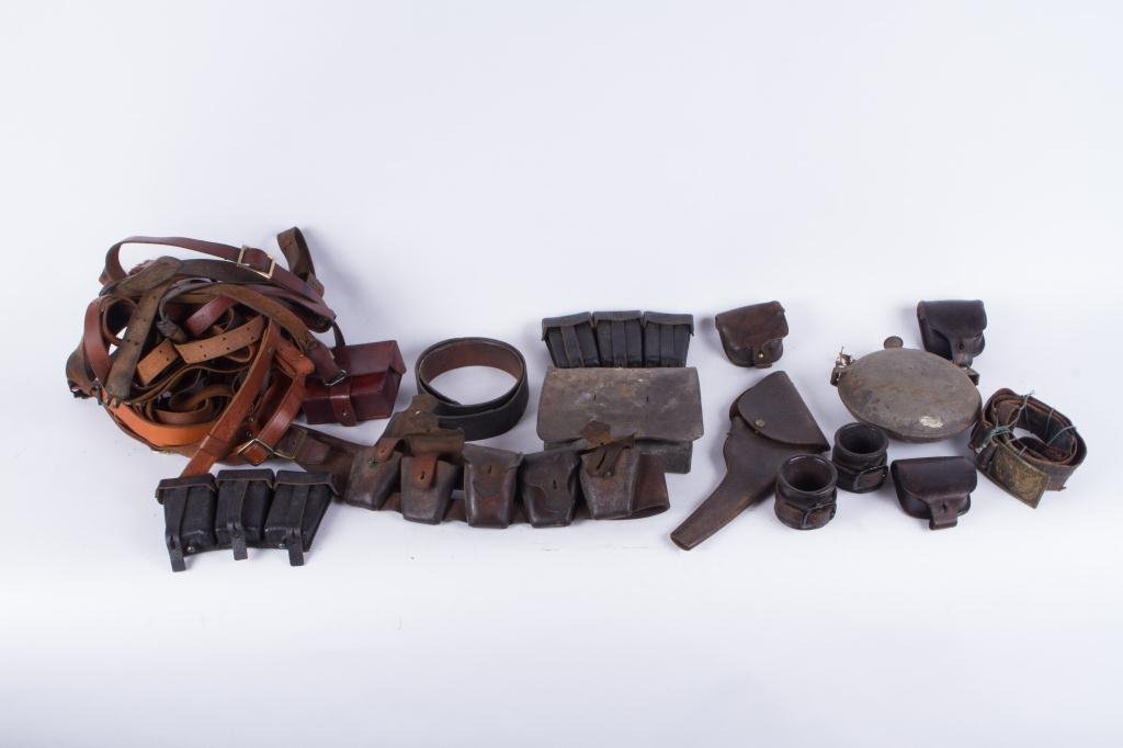 COLLECTION OF LEATHER MILITARIA ETC
