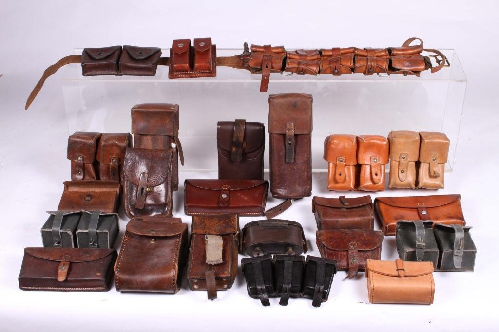 (22) LEATHER BELT w/ MOSTLY MILITARY APPLICATIONS - 4