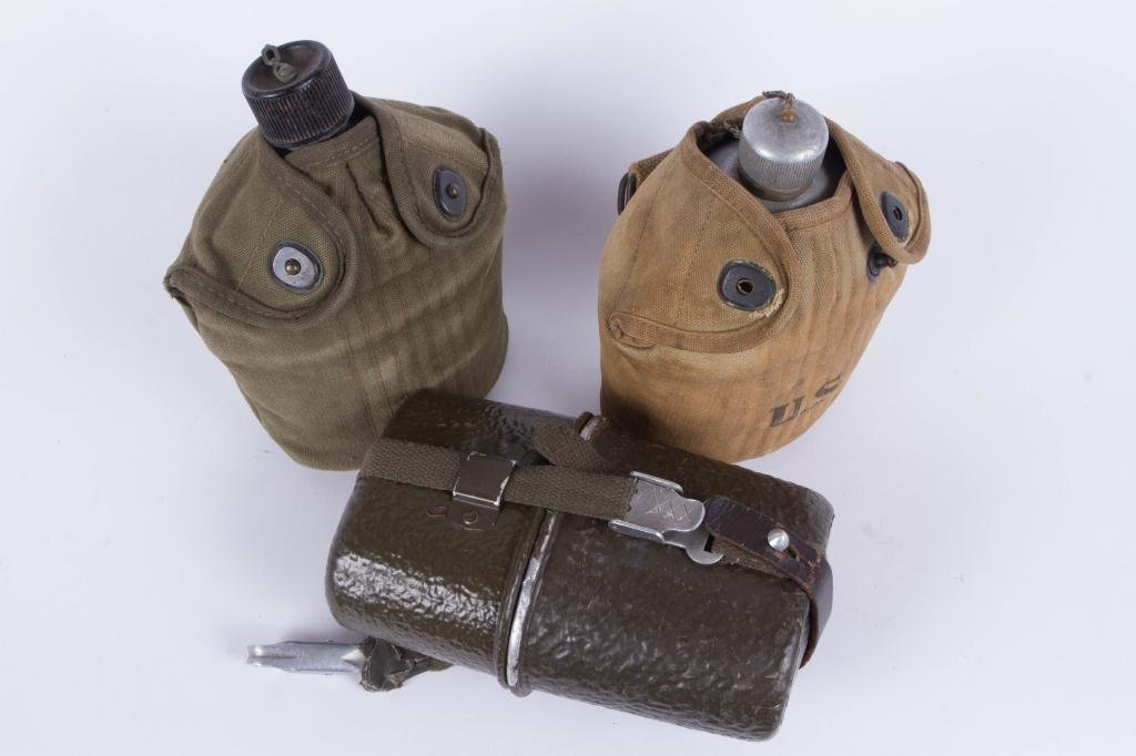 (2) WWI US CANTEENS AND (1) GERMAN CANTEEN/ CUP