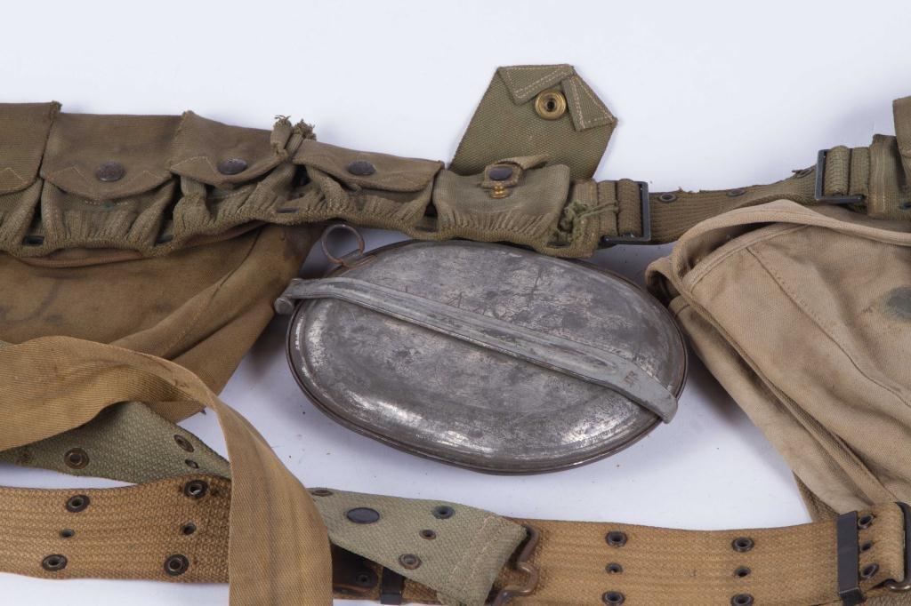 (3) US ARMY UTILITY BELTS, (2) CANVAS SATCHEL ETC - 4