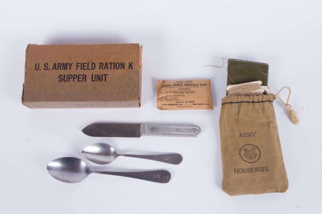 WWII K RATION, HOUSEWIFE, UTENSILS, CONDOMS