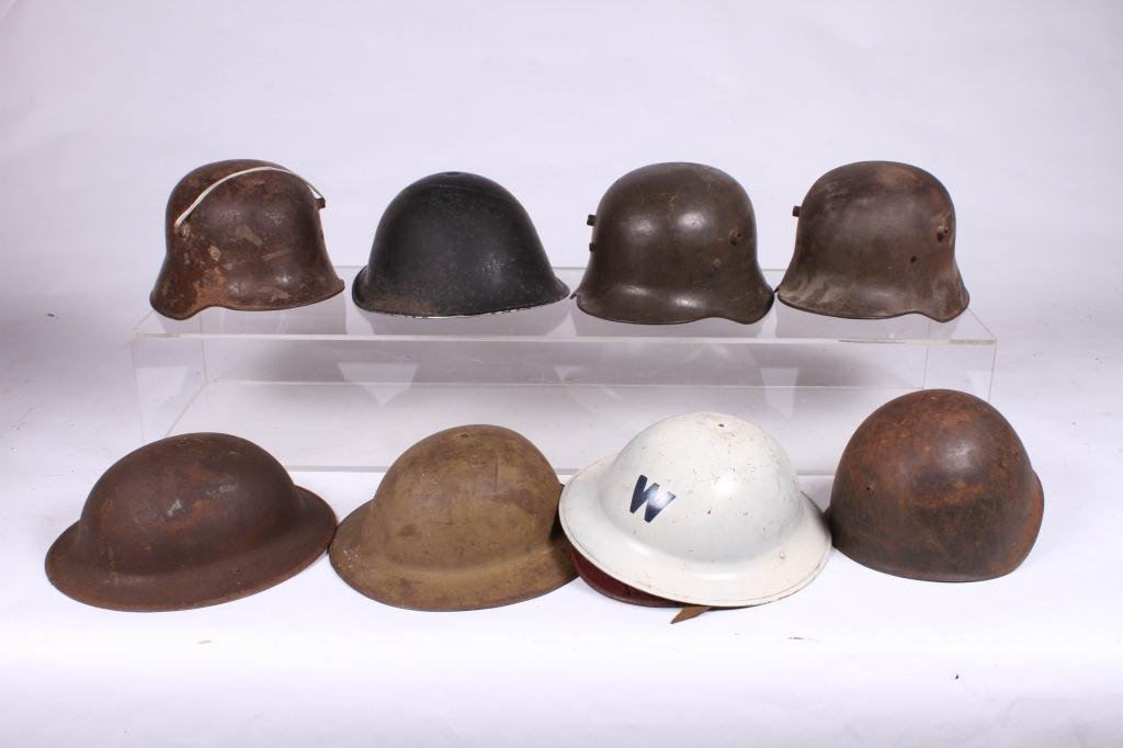 (5) WWII ERA HELMETS and (3) WWI HELMETS