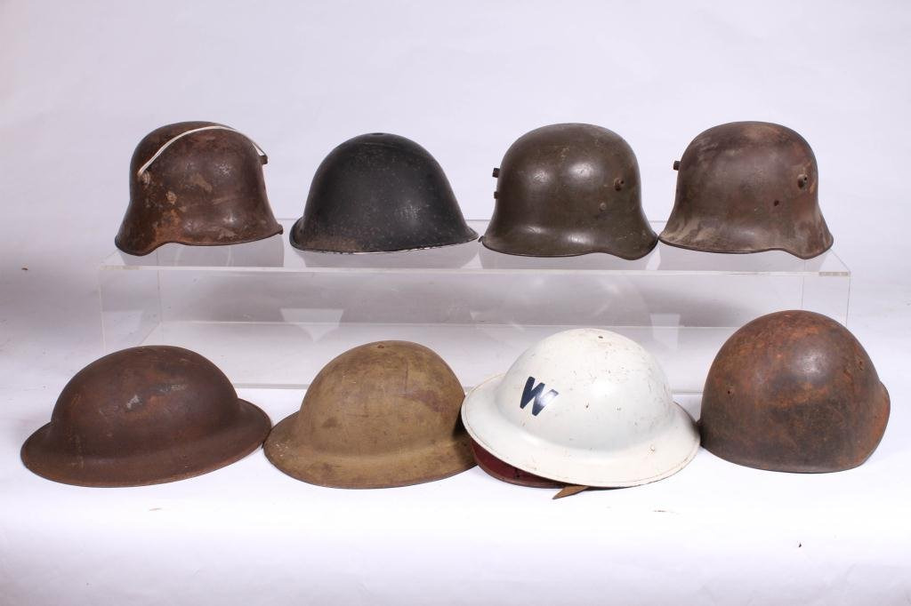 (5) WWII ERA HELMETS and (3) WWI HELMETS - 8