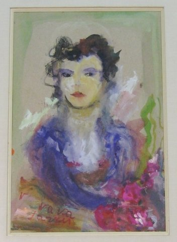 """3: American School (20th c) """"Woman with flowers"""" gouach"""