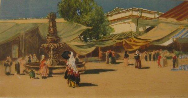 """4: F. Hopkinson Smith (1838-1915) """"Seville"""" hand-colore"""