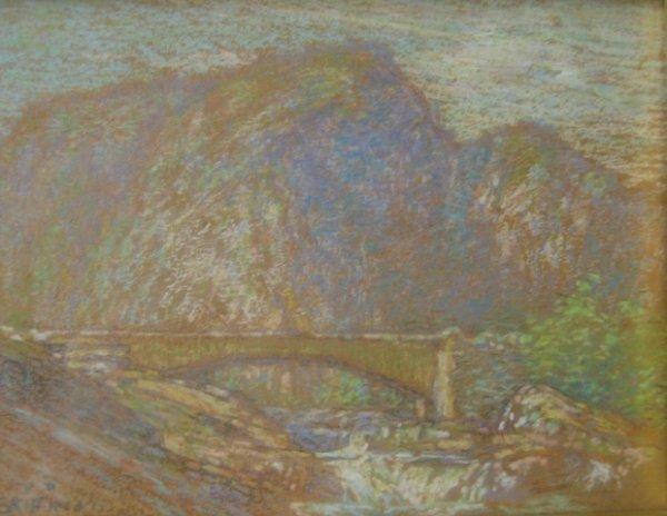"""7: Walter Griffin (1861-1935) """"Norway 1909"""" pastel 5 x"""