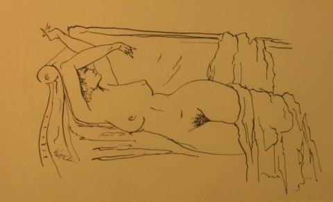 """8: Walt Kuhn (1877-1949), """"Nude on sofa"""" ink on paper 7"""