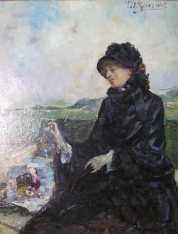 """15: French School (19th Century), """"Elegant woman in per"""