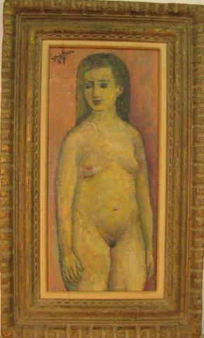 """17: Louis Harris (1902- ) """"Young nude"""" o/m 18 x 8.5 inc"""