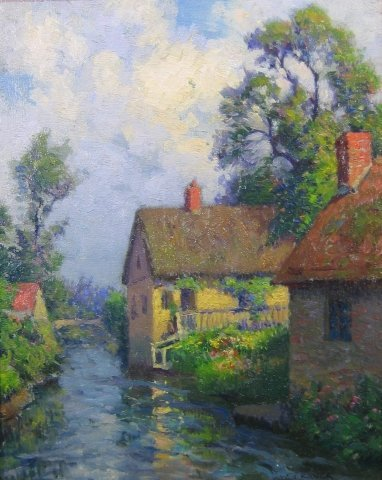 "19: William J. Kaula (1871-1953), ""Normandy Landscape w"