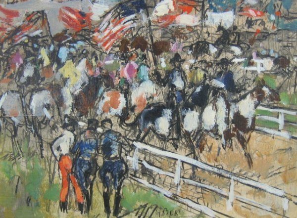"21: Gifford Beal (1879-1956), ""Parade"" o/m 9 x 12 inche"