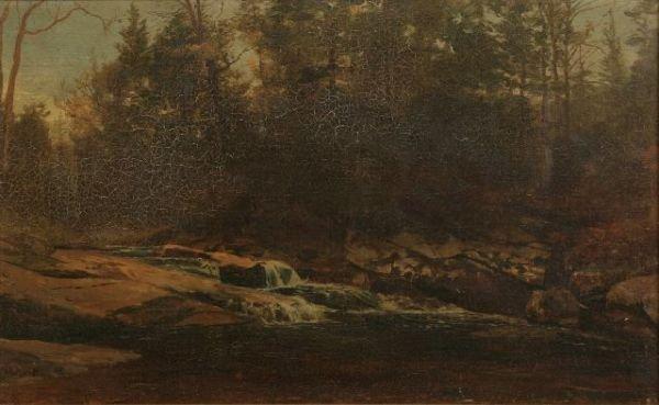 """23: Homer Dodge Martin (1863-1897), """"Woodland Stream"""",o"""