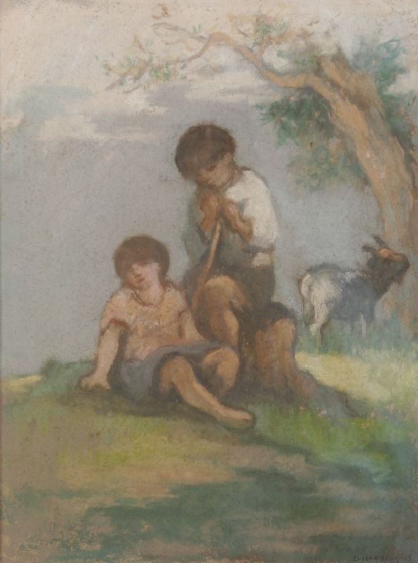 """24: Eugene Higgins (1874-1958), """"Shepard Couple with Go"""