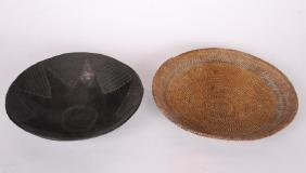 NATIVE AMERICAN COILED BASKET & BLACK CERAMIC BOWL