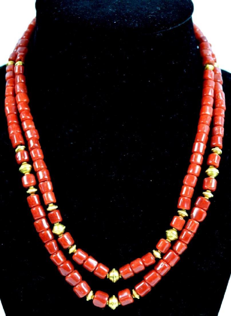 62.5 Grams Fine Dark Aka Coral Bead 18K Necklace