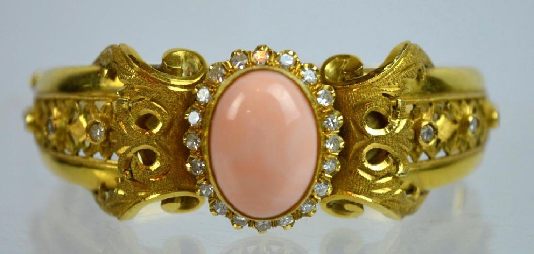 Antique 18K, Pink Coral Bracelet