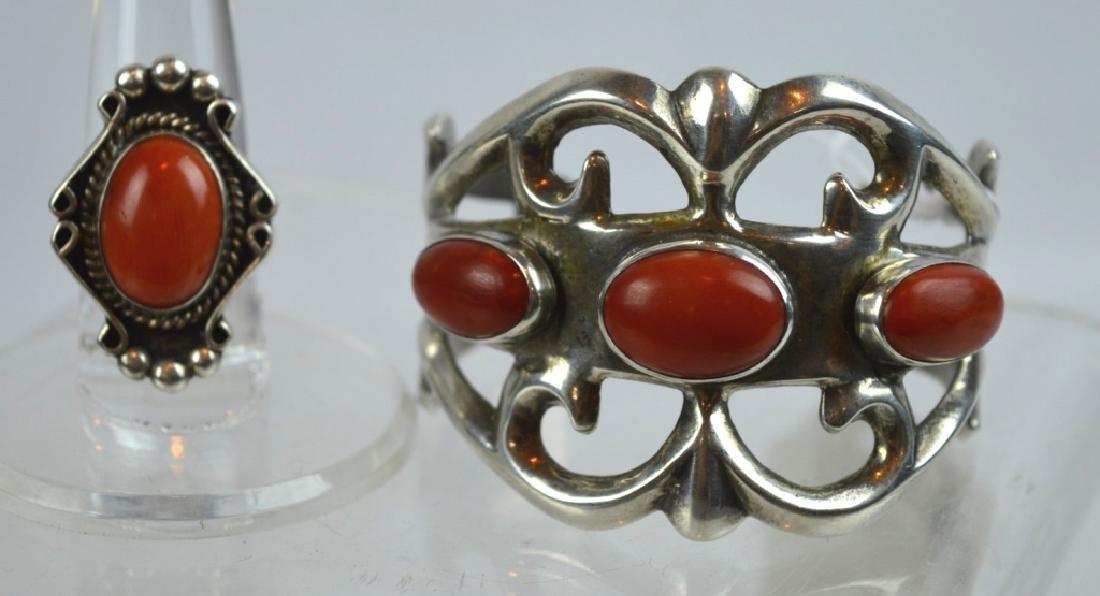 Native American Silver, Dark Coral Bracelet & Ring