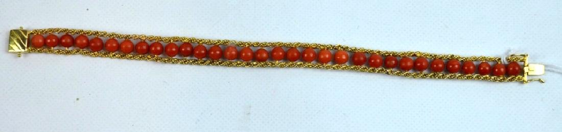 14K Yellow Gold Bracelet Woven with Coral Beads