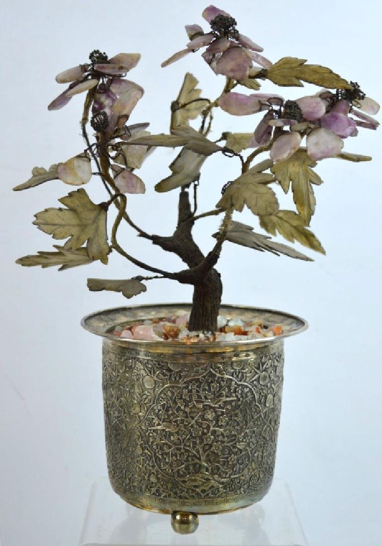 Chinese Silver Engraved Planter w Hardstone Tree