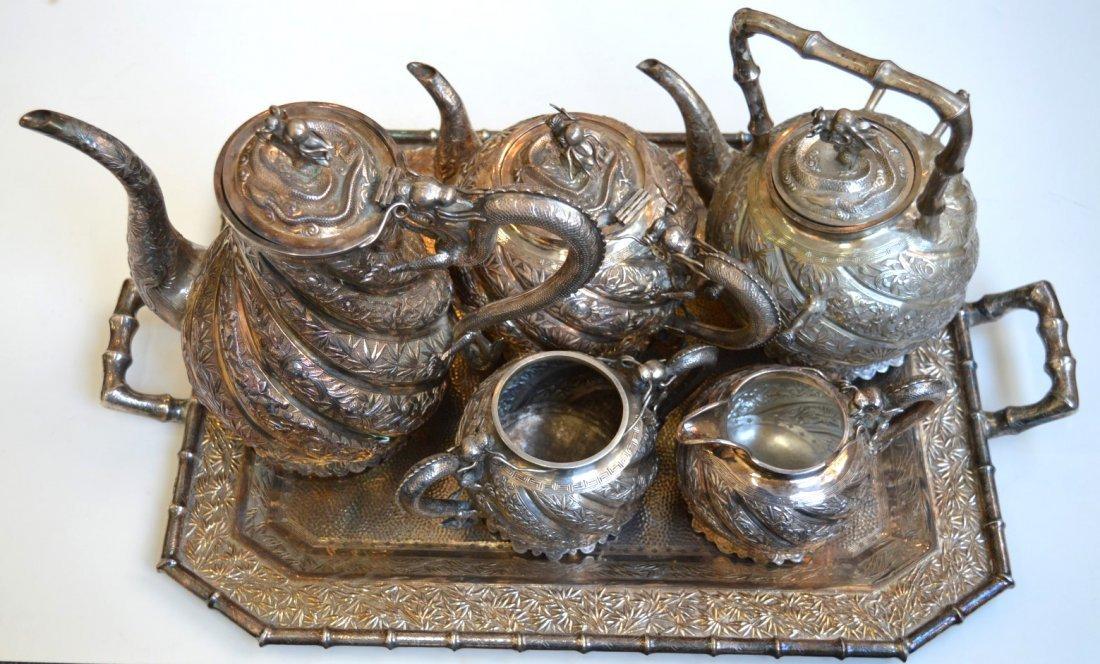 Impressive Chinese Silver 6 Piece Teapot Set