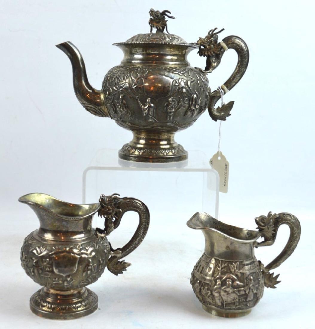 Antique Chinese Silver Assembled Teapot Set