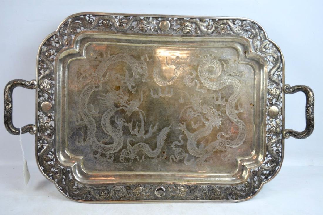 Chinese Silver Rectangular 2-Handled Dragon Tray