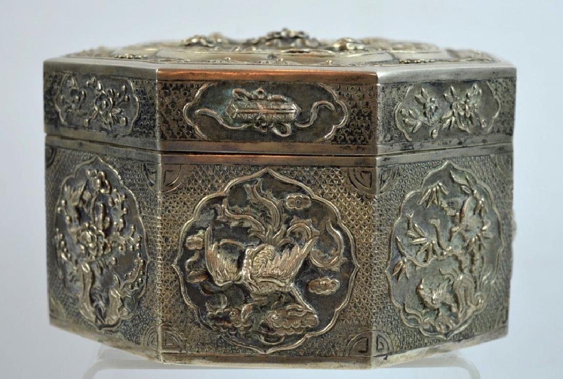 Rare Large Chinese Silver Octagonal Box & Cover