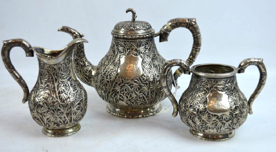Hoaching, Canton; 19th C Chinese Silver Teapot Set