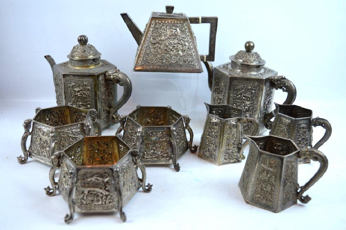 9 Pieces - 3 Chinese Silver Engraved Teapot Sets