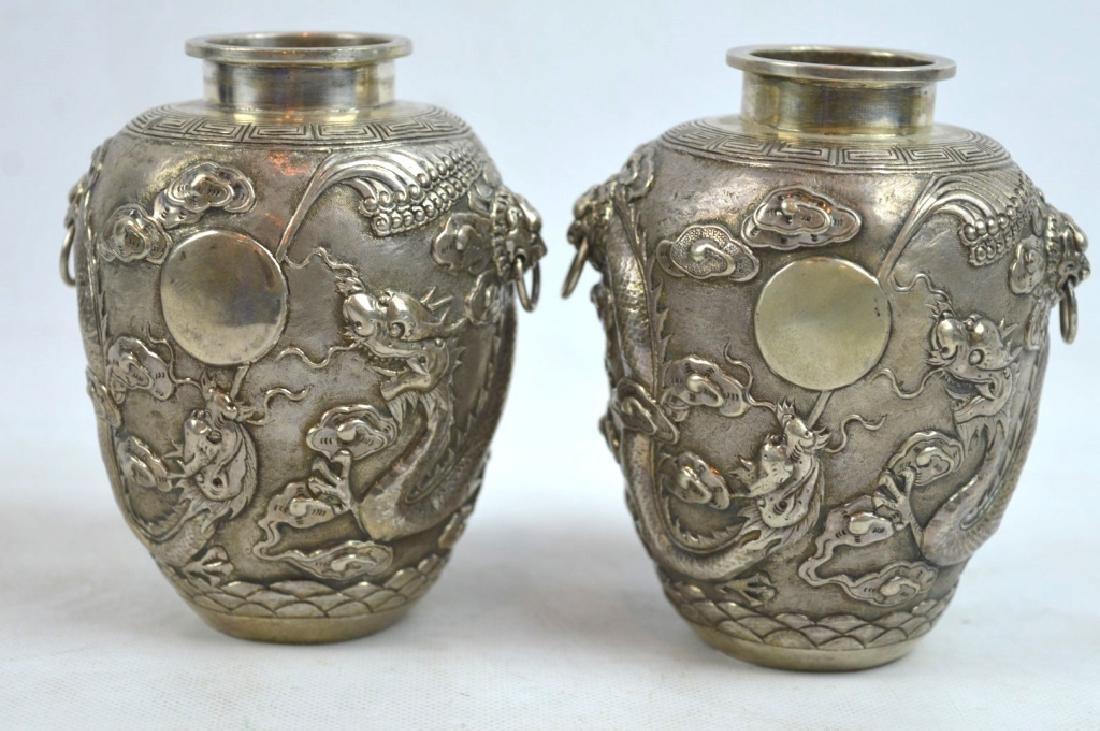 Kwan Wo, Canton & HK; Chinese Silver Dragon Jars