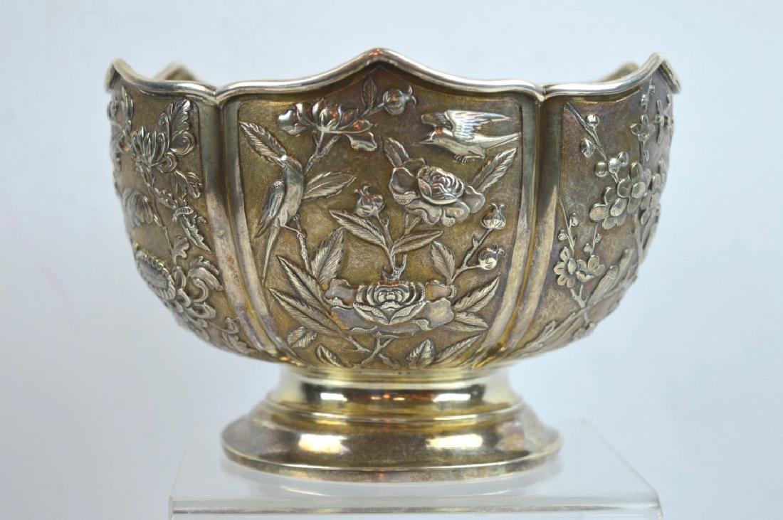 "Engraved Hexagonal Chinese Silver Bowl Mark ""935"""