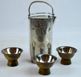 Antique Japanese Silver Sake Warmer & 3 Cups