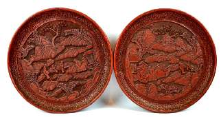 Fine Pr. Chinese Cinnabar Lacquer Plates