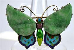 Chinese Carved Jadeite & Gilt Silver Butterfly Pin