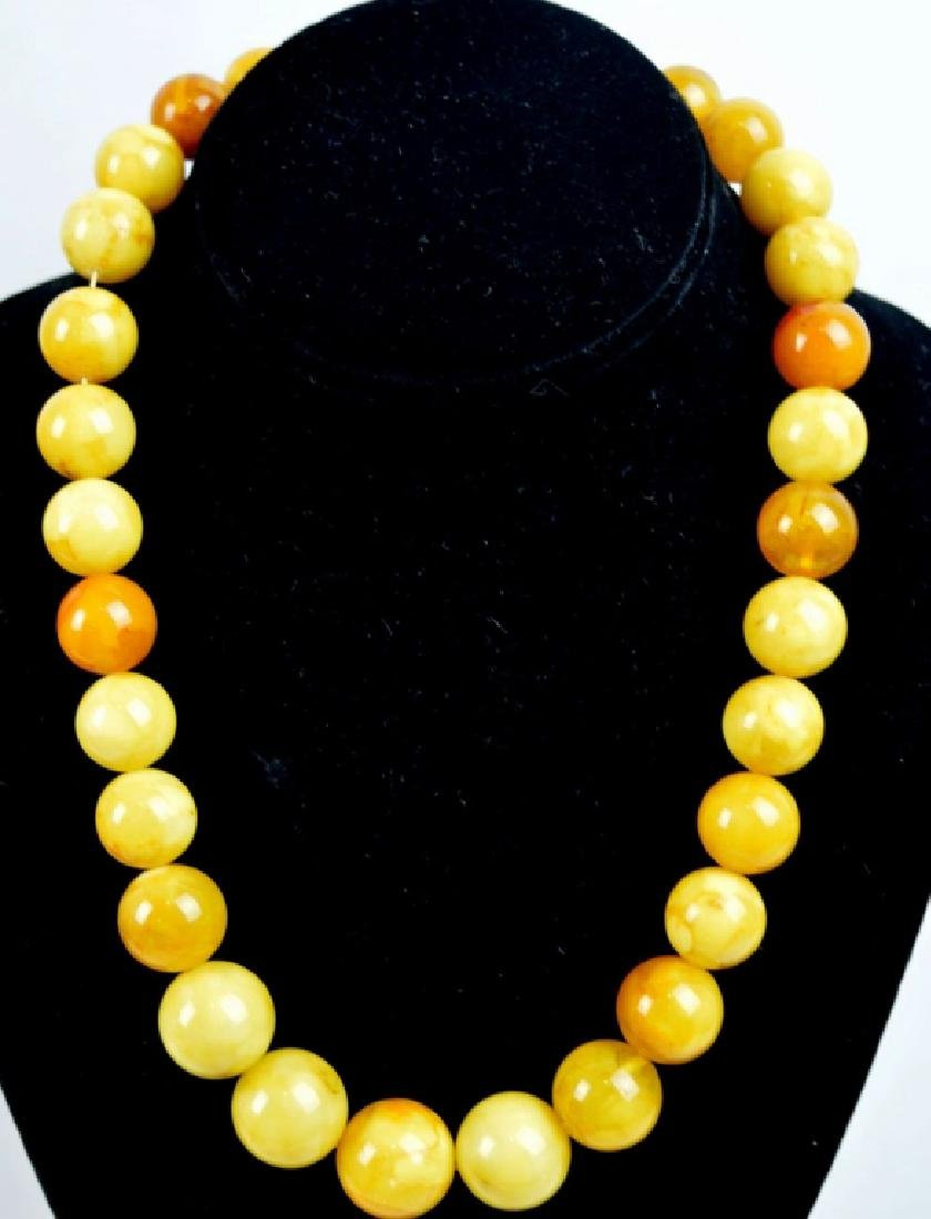 Round Butterscotch Amber Bead Necklace