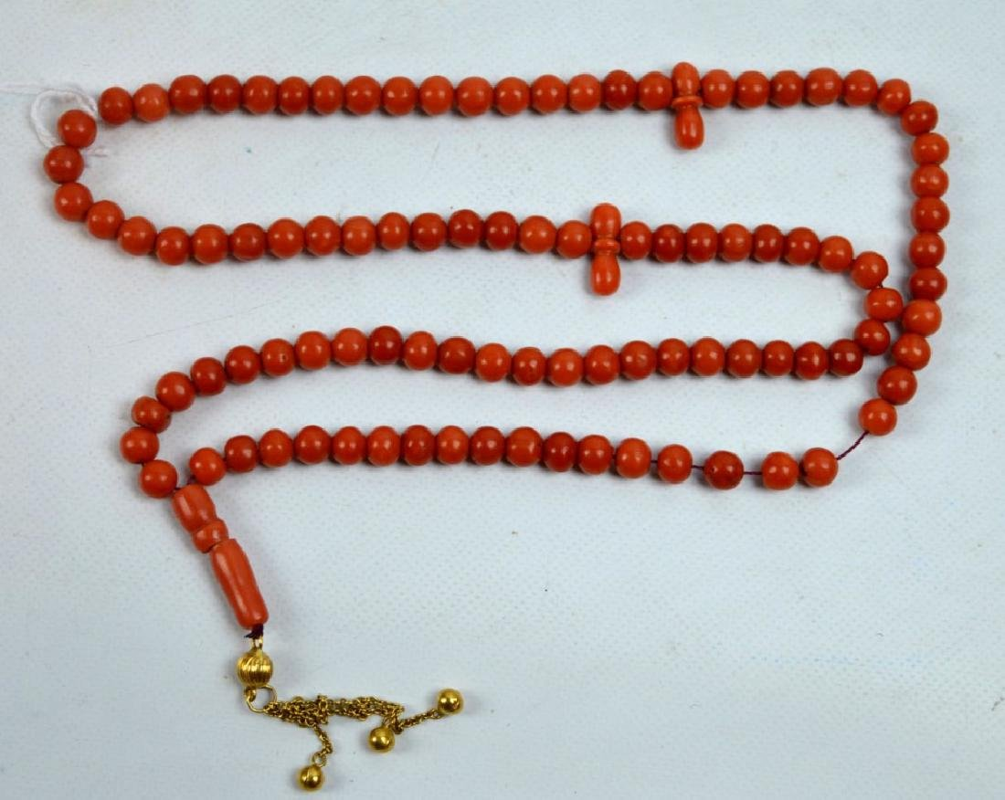 Dark Coral Bead Rosary with 14K; Total Weight 41G