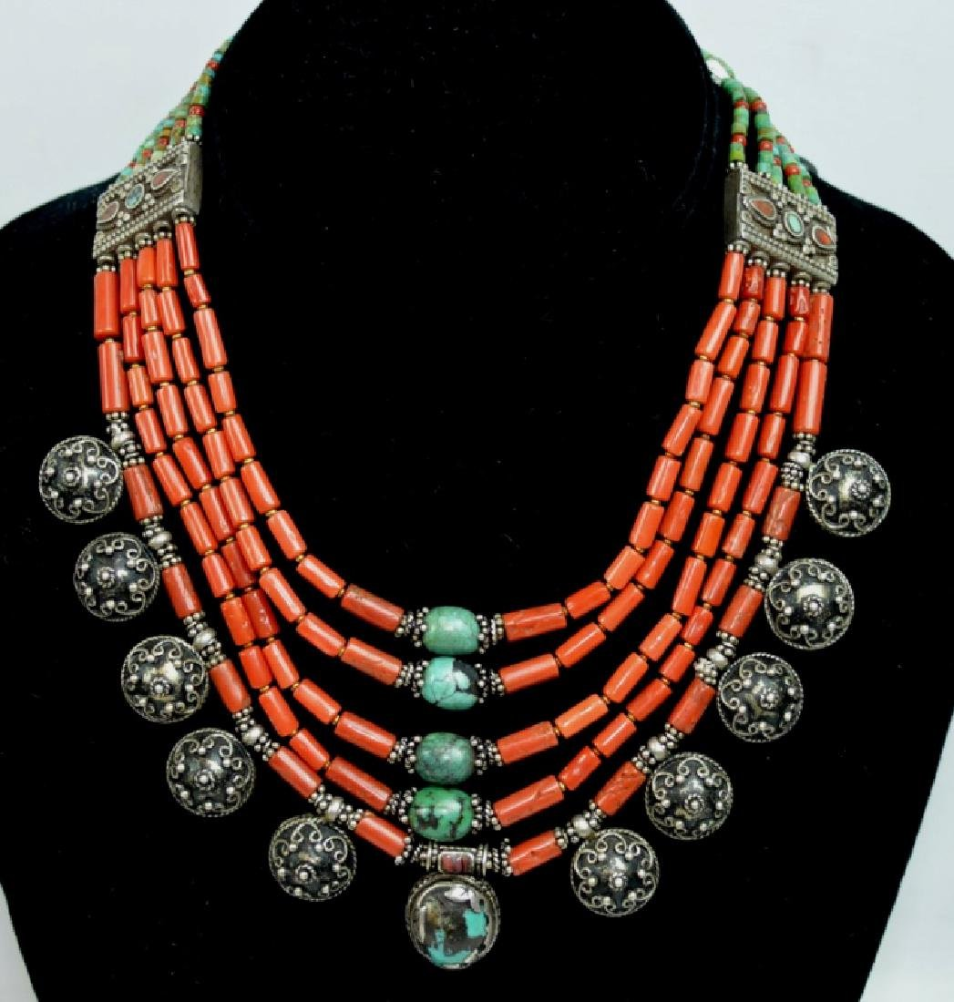 Good Tibetan Coral, Turquoise, Silver Necklace